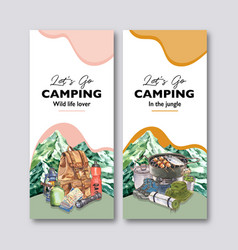 Camping flyer design with backpack flashlight vector