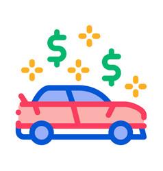 car dollar mark icon outline vector image