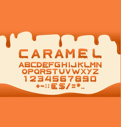 caramel font alphabet for sweet liquid food vector image