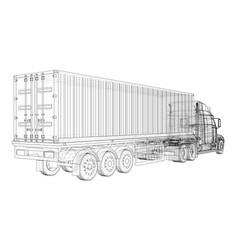 Cargo truck trailer wire-frame eps10 format vector