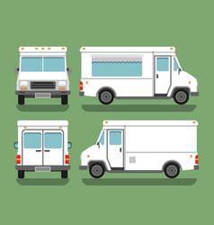 Cartoon delivery white blank food box truck vector