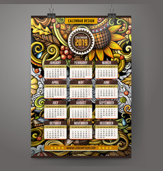 Cartoon doodles autumn 2019 year calendar template vector