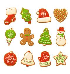 Cartoon gingerbread cookies for celebration design vector