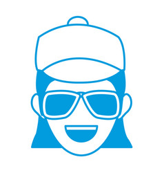 character woman head happy person image vector image