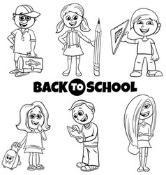 children back to school cartoon color book set vector image