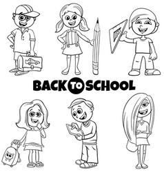 Children back to school cartoon color book set vector