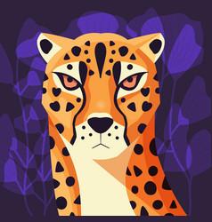 colorful portrait beautiful cheetah on purple vector image