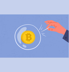 concept bitcoin bubble and speculation vector image