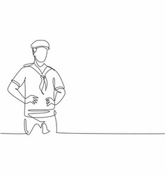 continuous one line drawing young sailor man vector image