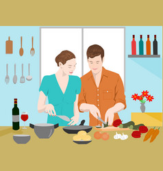 couples are cooking together in the kitchen vector image