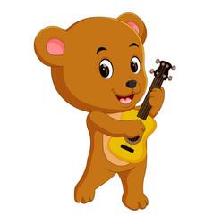 cute bear playing guitar vector image