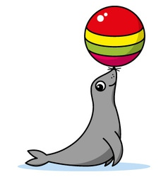Cute cartoon seal vector image