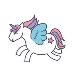 Cute fantasy unicorn icon vector