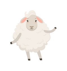 Cute funny white sheep character vector
