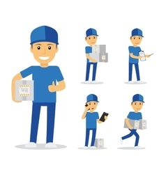 Delivery man in blue uniform vector image