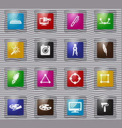 design glass icons set vector image