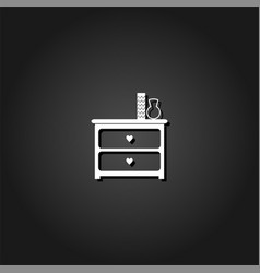 dresser with vases icon flat vector image