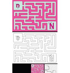 Easy alphabet maze - letter n vector