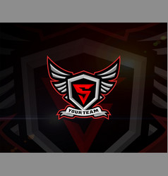Esport logo latter s and wings vector