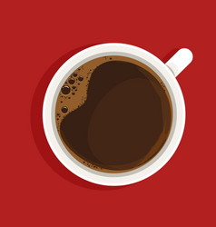 Espresso in white cup top view realistic vector