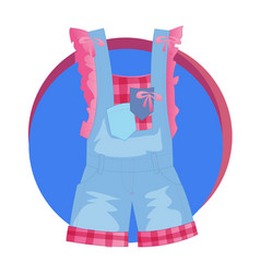 Fashion stylish denim overalls icon vector