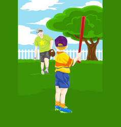 Father son playing baseball vector