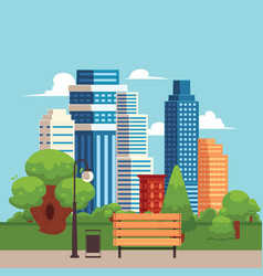 flat cityscape with building skyscrapers vector image