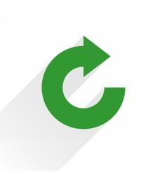 Flat green arrow icon rotation reset sign vector