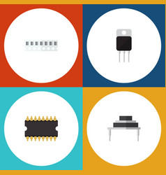 Flat icon electronics set of destination receiver vector