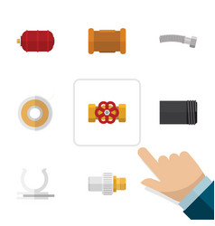 Flat icon industry set of pipe industry roll and vector