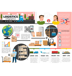 Flat logistic infographic concept vector