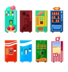 Food and drink vending machines design set vector