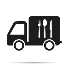 food delivery vehicle with shadow icon vector image