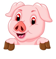 funny pig cartoon with blank board vector image