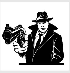 Gangster with gun cop with colt vector