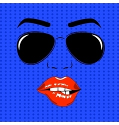 girl face outline with sunglasses vector image