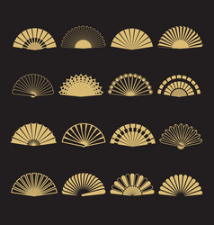 Gold hand fan icons hand fan isolated on vector