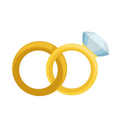 Gold wedding and engagement rings with diamond vector