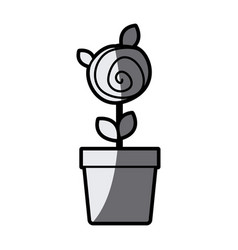 Gray scale silhouette drawing small rose with vector