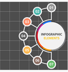 half circle infographic elements with seven option vector image