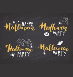 halloween greeting cards set lettering vector image