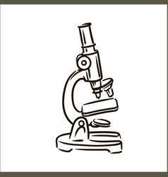 hand drawn microscope simple sketch vector image