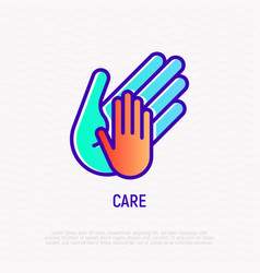 Hand of adult holds child thin line icon vector