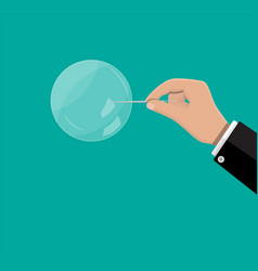 Hand with needle raised soap bubble vector