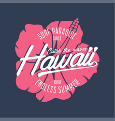 Hawaii hibiscus surf vector