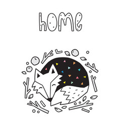 Home scandinavian print with sleeping fox vector