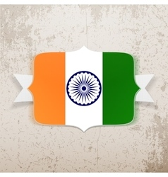 India Flag on Tag with Ribbon vector image