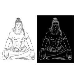 indian meditating god shiva line art vector image