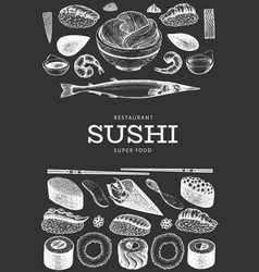 Japanese cuisine design template sushi hand drawn vector
