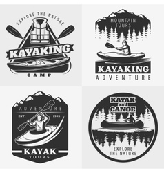 Kayaking adventure emblems composition vector